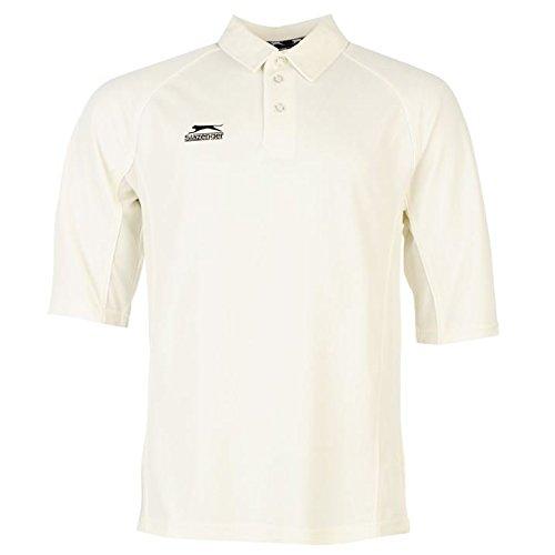 Slazenger 3/4 Arm Herren Kricket T Shirt Sport Training Tee Top 3 Knoepfe M