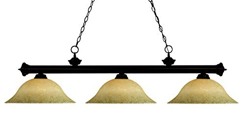 Z-Lite 100703BRZ-GM16 3 Light Billiard, Golden Mottle, Bronze - Light Billard 3