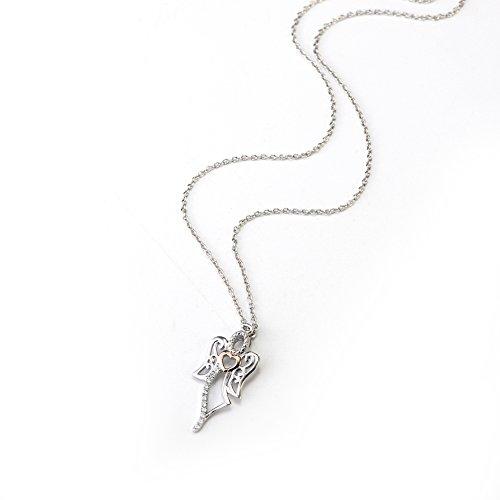 Deux tons Argent sterling 925Ailes d'ange Cœur Oxyde de Zirconium Charm Collier Chaine Rolo, 40,6cm + 5,1cm