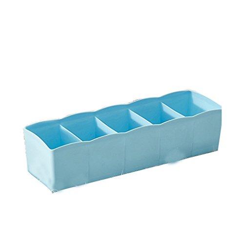 5-Grid Plastic Storage Box Closet Dresser Drawer Divider Basket Bins Cosmetic Organizer for Underwear, Bras, Socks, Ties, Scarves (Blue) by Baost (Image #5)