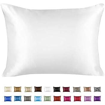 Shop Bedding Luxury Satin Pillowcase for Hair - Standard Satin Pillowcase with Zipper, White (1 per Pack) - Blissford