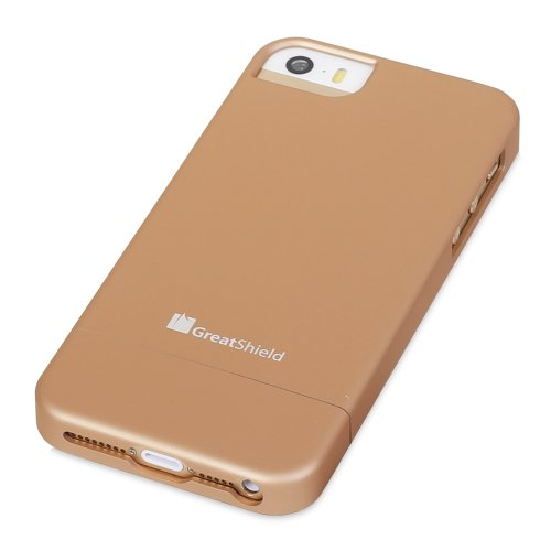 GreatShield iSlide Dock, umweltfreundlich, Slim Fit, Polycarbonat, Hartschale für Apple iPhone 5/5S (Gold)