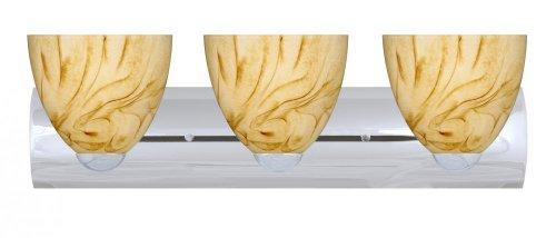 Halva Bronze Wall - Besa Lighting 3WZ-7572HV-PN Sasha II 3-Light Vanity Fixture, Halva Art Glass Shades and Polished Nickel Finish