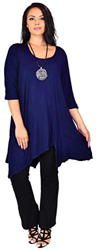 (Dare2BStylish Women Plus Size Asymmetrical Long Tunic Shirt Dress Top (3X/4X, Navy Blue))