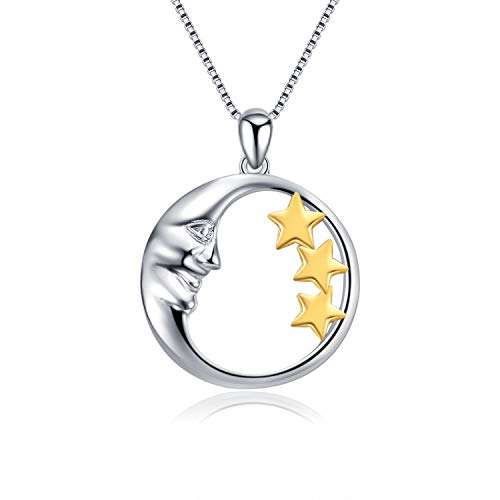 - LONAGO 925 Sterling Silver Crescent Moon and Three Stars Pendant Necklace Two Tone Grandma Mother & Children Jewelry Women Girl Gift