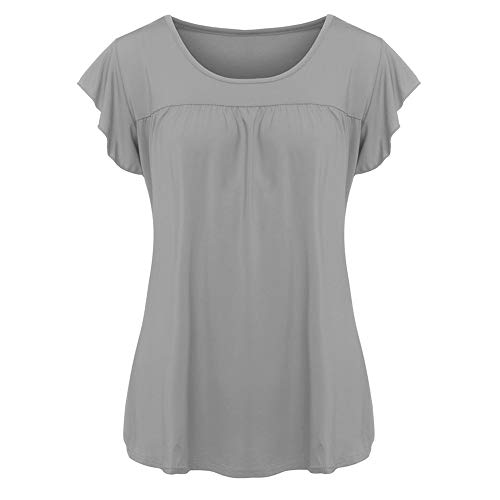 Aniywn Women Round Neck Ruffled Short Sleeve Blouse Solid Color Ruched Irregular T-Shirt Tops (XL, Gray)