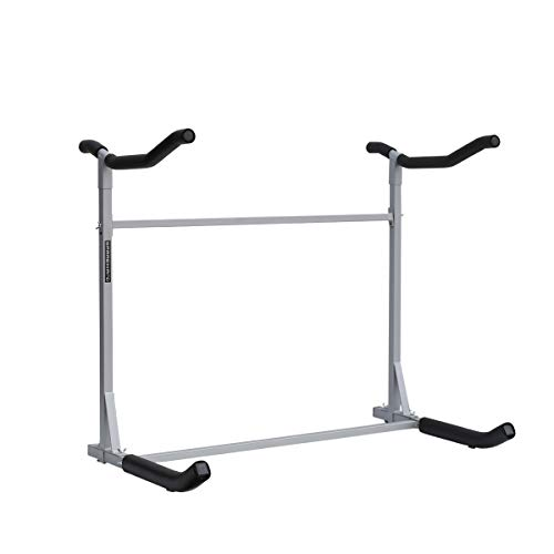 SPAREHAND Freestanding Dual Storage Rack for 2 Kayaks or SUPs, Tools-Free Assembly, Pebble Silver Finish