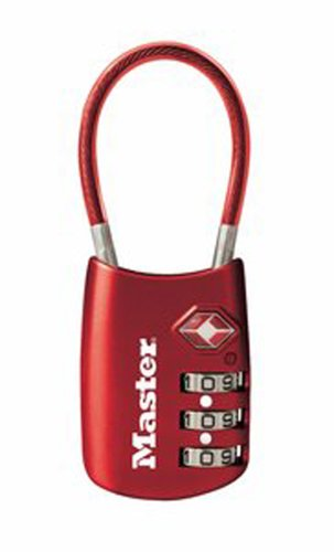 Master Lock Padlock, Set Your Own Combination TSA Accepted Cable Luggage Lock, 1-3/16 in. Wide, Assorted Colors, 4688D