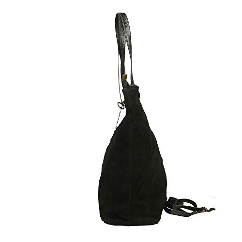 33x26x13 De Cm Hombro Piel Genuina Borse Italy En Made Chicca Negro In Bolsa PqtxvFwwE