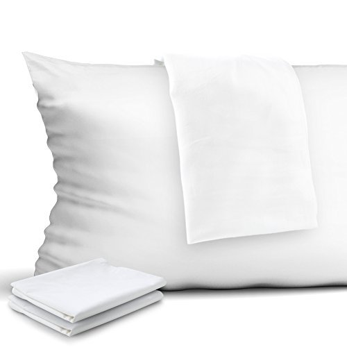 CAROMIO 4-Pack Zippered Pillow Protectors, Premium 400 Thread Count 100% Egyptian Cotton White Zippered Pillowcases Pillow Covers, Queen ()