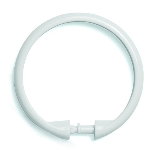 Kenney White Shower Curtain Rings, 12-Pack