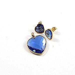 Bheema acrílico de moda en forma de corazón de oro 316l acero inoxidable chapado (collar&pendientes) sistemas de la joyería