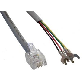 (Telephone Flat Modular/Patch Cable RJ-11/RJ-14 To Spade (4 conductors), 1 Feet)