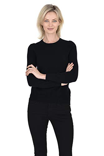 Cashmeren Women's 100% Pure Cashmere Classic Knit Soft Long Sleeve Crew Neck Pullover Sweater (Black, - Crew Cashmere Sweater 100%