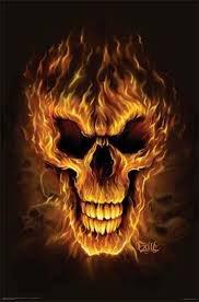 Flaming Skull Framed Poster