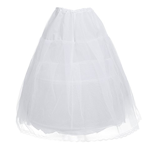 (Freebily Kids Girls Long Crinoline Petticoat White 2 Hoop Underskirt)