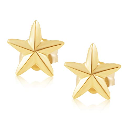 (14KT Yellow Gold Children's and Baby Girls Star Stud Earrings - Charming with Secure Screw Back Safety Closure)