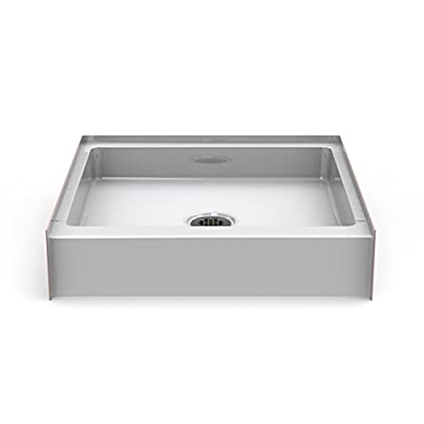 30″ x 30″ Step-in Shower Base / Pan - 6″ Curb Height - Center Drain - White - Bestbath (Shower Pan Floor)
