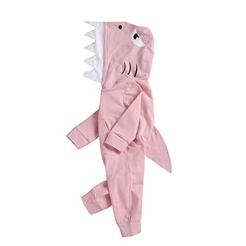 3D Cartoon Unisex Baby Autumn Winter Shark Hooded Romper Bodysuit Zipper Hoodies with Kangaroo Muff Pockets Shark Fin (Pink, 12-18 Months)