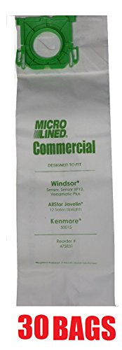 (30 Sebo, Windsor Sensor Micro-Lined Commercial Upright Vacuum Bags, Fits 5093AM, 5300. 30 Pack.)