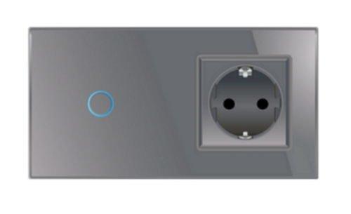 Lichtschalter Steckdose Touchscreen Glas Touchscreen Grau Livolo