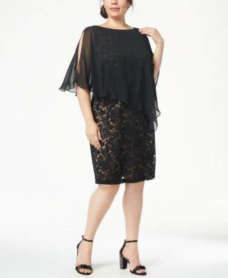 (Connected $89 Womens New 1197 Black Lace & Chiffon Cape Sheath Dress 22W Plus)