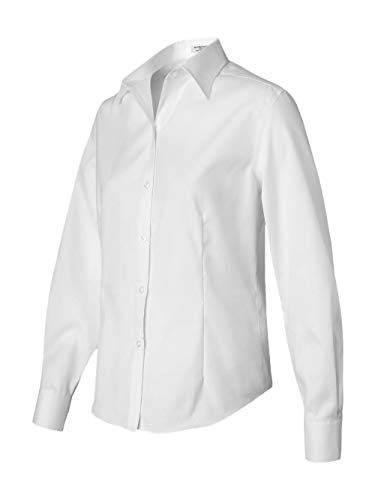 Van Heusen Ladies Long Sleeve Non Iron Pinpoint Oxford Shirt, White, Large ()