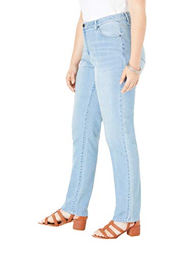 Roamans Women's Plus Size Straight-Leg Jean with Invisible Stretch