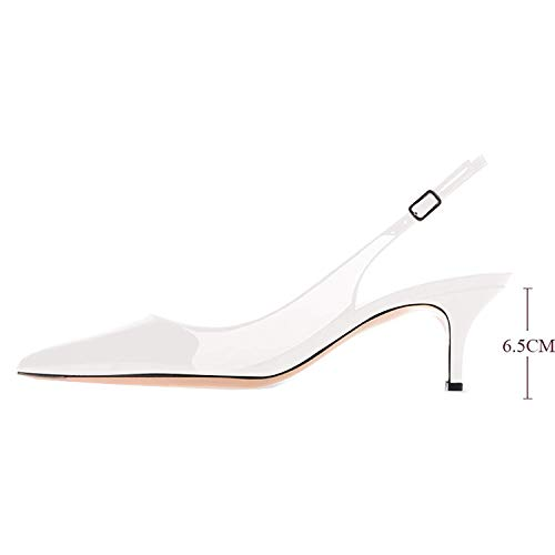 Lovirs Womens White Slingback Ankle Strap Sandals Stiletto Mid-Heel Pointy Toe Pumps Shoes for Party Dress 10 M US