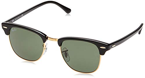 Ray-Ban RB3016 Clubmaster Square Sunglasses, Black On Gold/Green, 49 mm (Ray-bans Clubmaster)