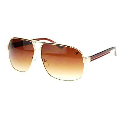 Unisex Designer Fashion Sunglasses Square Navigator Shades Gold - Designer Mens Shades