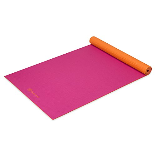 Gaiam Solid Two-Sided Yoga Mat, Fruit Punch, 3/4mm