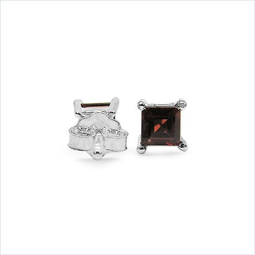 Bijoux Schmidt-Boucles d'oreilles grenat carrés-925-1-carats rhodié argenté
