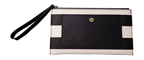 Michael Kors Saffiano Leather Stripe Greenwich Large Zip Clutch Wristlet, Navy, Optic White by Michael Kors