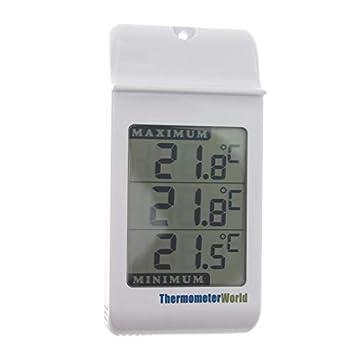Grande Digital Max Min termómetro en color gris – para interior y exterior pared de efecto invernadero: Amazon.es: Jardín