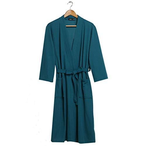 - Clearance Sales Christmas Unisex Winter Kimono Robe Bathrobe Soft Sleepwear Waffle One Piece Splicing Lengthened Homewear (A_Green, M)