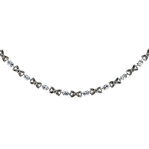 Sterling Silver Cubic Zirconia Lavender Bow Marcasite Necklace, 16 inches long by Sabrina Silver