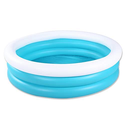 HIWENA Inflatable Kiddie Pool, 5ft Durable Kids Pool, Blue & covid 19 (White Wading Pool coronavirus)