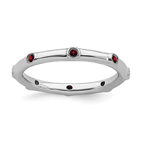 Antiqued Band 3mm Silver Sterling (925 Sterling Silver Red Garnet Band Ring Size 10.00 Stone Stackable Gemstone Birthstone January Fine Jewelry Gifts For Women For Her)