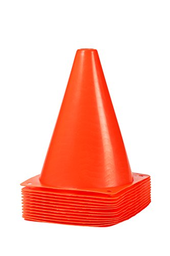 Sports Cones – Multi-Purpose Orange Plastic Traffic Cones – Great for Training, Soccer, Football, Basketball, and Other Sports Activities, Pack of 12, 7 Inches