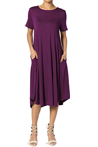 TheMogan Women's Short Sleeve Pocket A-line Fit and Flare Midi Dress Dark Plum M ()