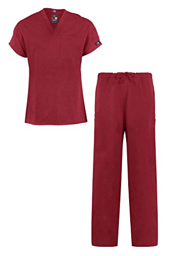 MediFit Men's Basic Solid Two Piece Medical Top & Pants Scrub Set(MENSET-MED,WIN-L) - Deep 2 Piece Set