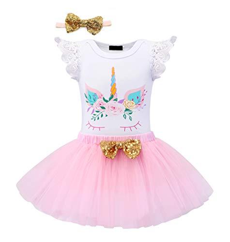 HenzWorld Unicorn 1st Birthday Romper Baby Girls Dress up Tutu Skirt Party Wedding Kids Clothes Headband Bowtie Set 1 Year -