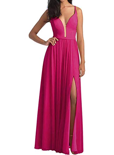 Lamosi Women's V Neck High Slit Bridesmaid Party Dresses Long Evening Prom Formal Gown with Belt Fuchsia Size 22 Bill Levkoff Junior Bridesmaid Dresses