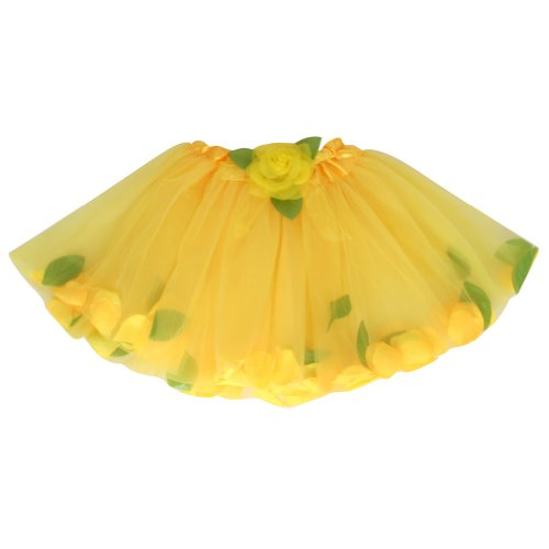 Girls Yellow Ballet Tutu Perfect Fairy Costume Accessory Rose Flower Petal Tutu