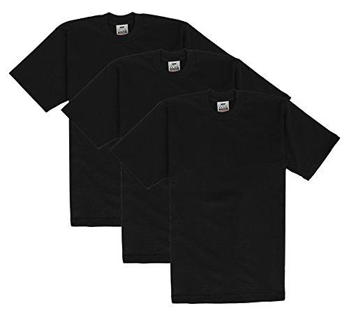 Pro Club Men's Heavyweight Short Sleeve T-Shirt, Black, 4X-Large (3 Pack)