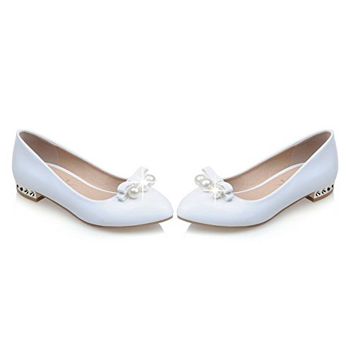 BalaMasa donna slip-on low-heels solido microfibra pumps-shoes, Bianco (White), 35