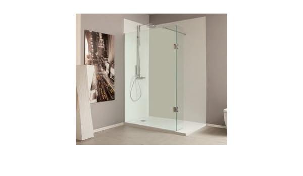 Mampara de ducha fija italiana Eter con un Panel extraíble. Vidrio Securit en transparente o en gris ahumado de 8 mm antical: Amazon.es: Bricolaje y herramientas