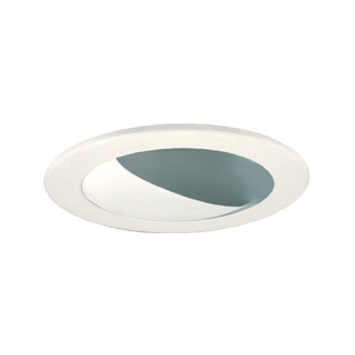 Jesco Lighting TM204WHWH 2-Inch Aperture Line Voltage Trim Recessed Light, Adjustable Wall Washer with Baffle, All White Finish