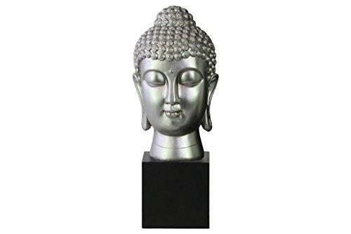 (Urban Trends Resin Buddha Head with Bun Ushnisha on Base in Gloss Finish, Silver)